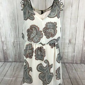 GENTLE FAWN Women's Ivory Brown Paisley Dress S